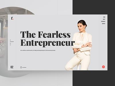 The Fearless Entrepreneur trendy ux ui minimalism webdesign typography concept modern