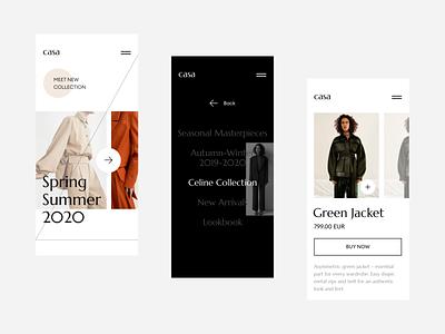 CASA fashion fashion ecommerce ui ux webdesign concept typography modern