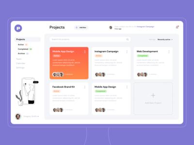 Powio – Task Manager Dashboard task manager ui ux user interface startup dashboard app dashboard ui webdesign modern