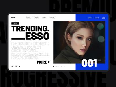CRVM. fashion webdesign modern ecommerce ui ux trendy typography concept principle interaction