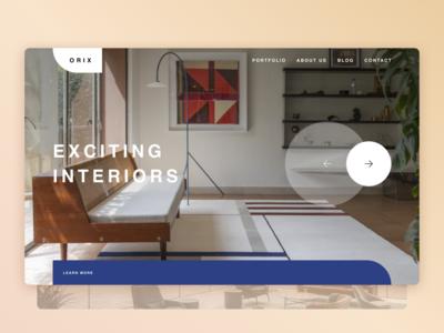 Interior Design Studio interior fashion minimalism webdesign trendy typography concept modern