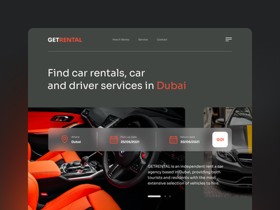 Car Rental Website ux ui minimalism webdesign trendy concept modern