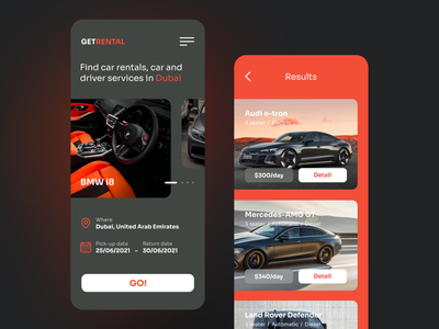 Car Rental Website mobile app mobile design mobile ui ux webdesign trendy concept modern