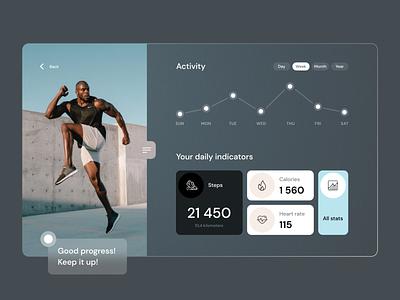 Activity Dashboard health app sport statistics fitness app dashboard app dashboad trendy concept