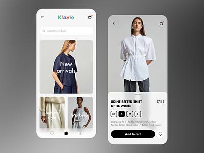 Klavio app application app design modern minimalism clothing store fashion store fashion app mobile design app ui ux trendy concept