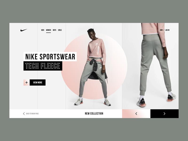 Nike Sportswear flat webdesign web ui ux trendy typography clean ecommerce fashion modern minimalism design