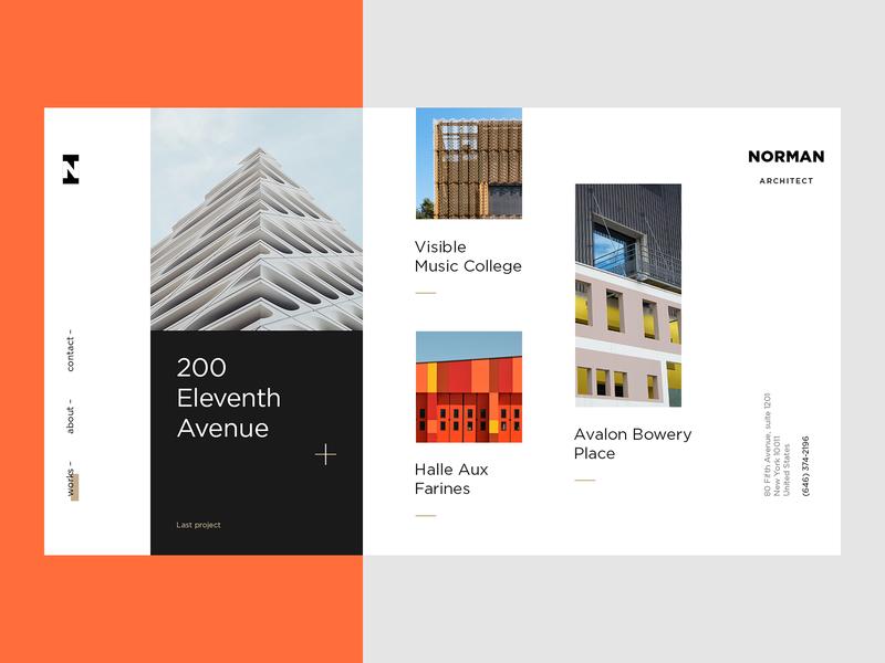 Architect Website art concept promo portfolio architechture typography flat webdesign ux ui modern trendy minimalism
