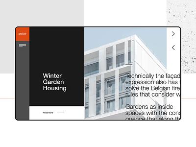 Atelier Homepage architect design concept webdesign typography ui ux modern trendy