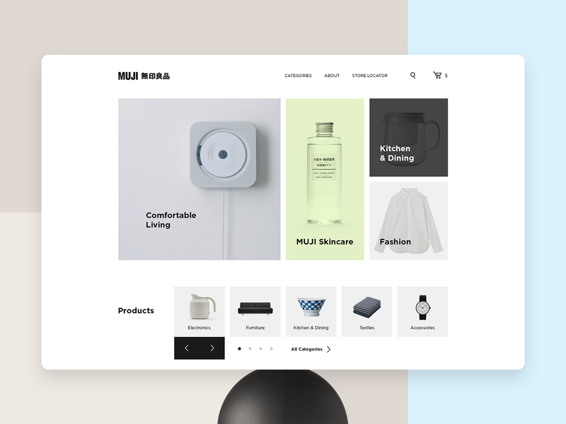 MUJI Redesign Concept ecommerce store trendy ui ux concept minimalism webdesign typography