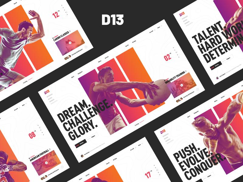 D13 concept gym app ui ux modern typography webdesign training