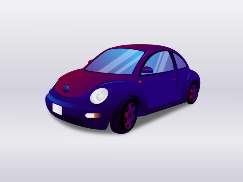 Volkswagen Beetle city violet auto car beetle volkswagen flat vector design illustration иллюстрация dribbble дизайн