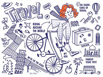 Travel bicycle map scenic spot volcano suitcase world travel design illustration