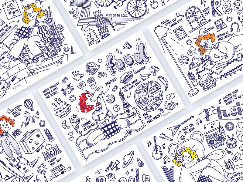 Doodle Illustrations travel music read life food doodle design illustration