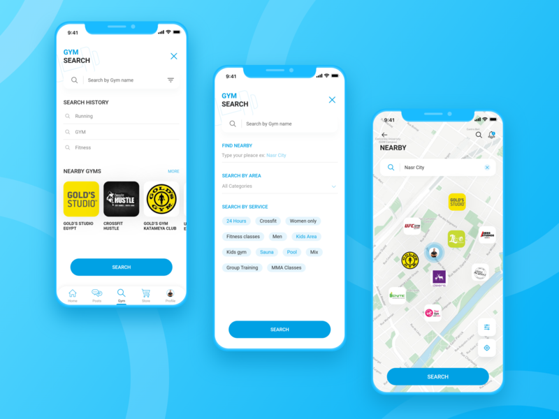 Cairo Gyms App fitness tracker gymnastics search results search workout app map fitness app fitness gym app gym search page brand identity mobile app design product design user interaction branding design ui ux design user interface design user experience design dribbble best shot