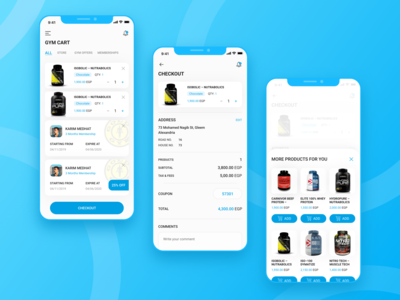 Cairo Gyms App discount receipt addtocart membership gym products fitness products checkout form checkout page checkout gym app gym cart visual design mobile app design product design user interaction ui ux design user interface design user experience design dribbble best shot
