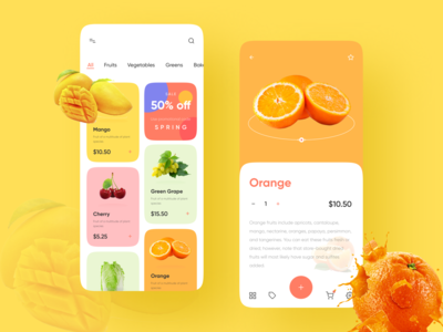 Fruits App colorful design trendy healthy food healthy gym online shopping fruits app fresh fruits fresh juice fresh food juice fruits mobile app design visual design product design user interaction ui ux design user experience design user interface design dribbble best shot