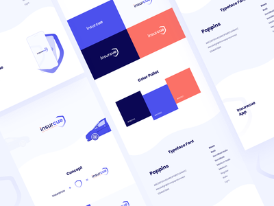Insurcue - (Car Insurance Website/App) Branding ui ux brand strategy visual identity typefaces variations insurance logo logo logo design insurance app insurance company cars brand fonts color palette branding design brand identity brand design branding visual design dribbble best shot