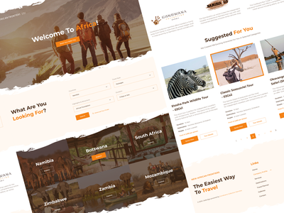 New African Frontiers Landing Page vacation trip planner travel logo africa tourism website booking page travel app booking travel agency travelling company travelling travel landing page design visual design product design user interaction ui ux design user experience design user interface design dribbble best shot