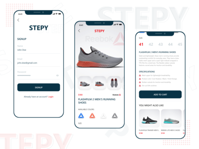 Stepy   Sports Products App sports products brands trending trendy sportswear online store online shop shoe app shoe brand identity visual design product design graphic  design user interaction branding design ui ux design user interface design user experience design dribbble best shot