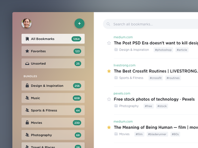 Bookmarks flat service saas application ux ui app bookmarks