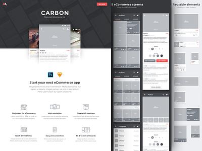 Carbon - WIP app mobile landing page carbon kit ui wireframes mockups material