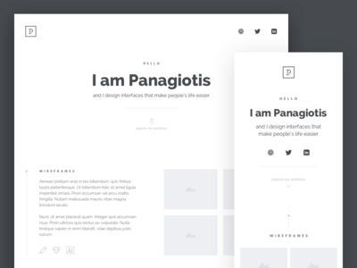 Personal Site / Portfolio typography flat clean minimal design mockups wireframes showcase portfolio personal