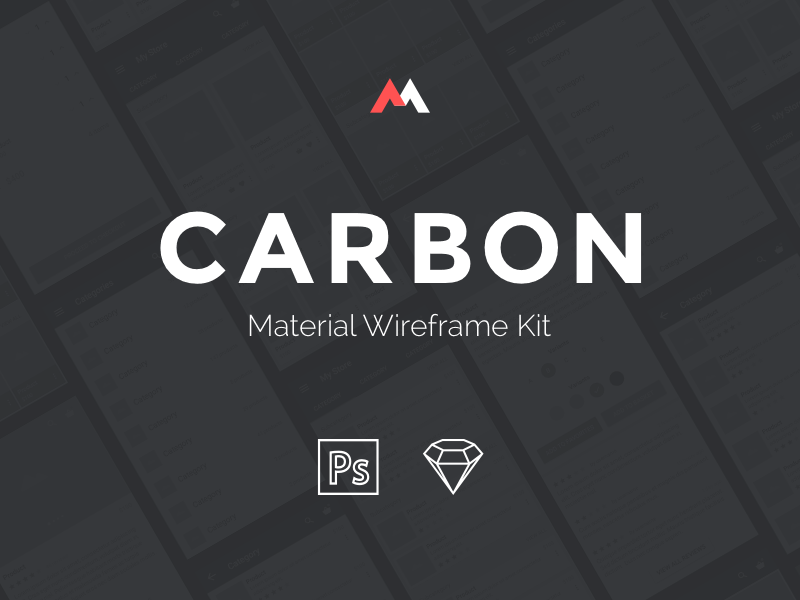 CARBON - Material Wireframe Kit sketch psd wireframe ui kit material freebie free