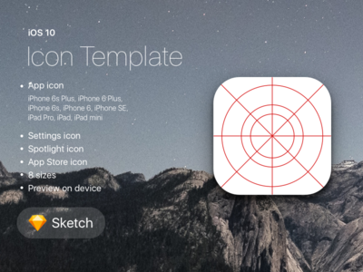 iOS 10 Icon Template for Sketch ipad iphone sketch ios freebie free template app icon