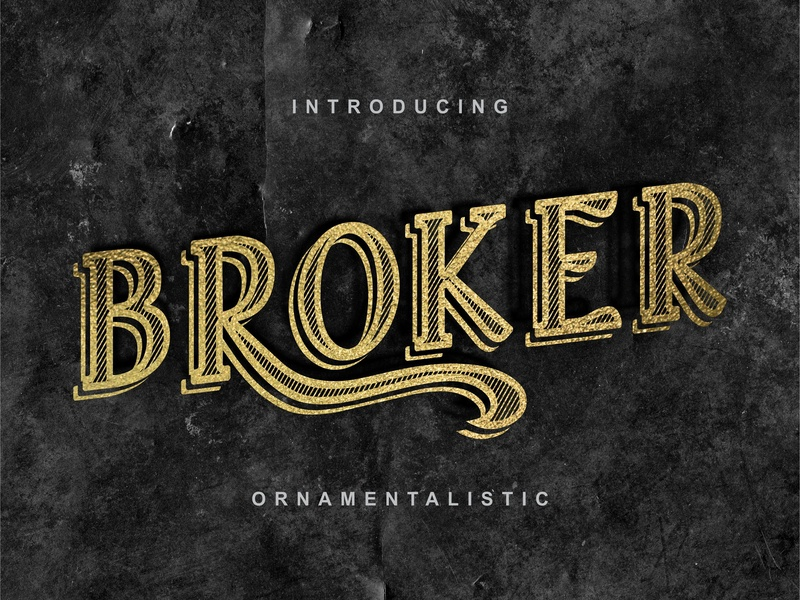 Broker - vintage typeface wild modern font graphic script vintage typeface shadowed handcrafted retro fonts retro vintage font vintage typography typeface alphabet retro font logo font design font awesome font calligraphy