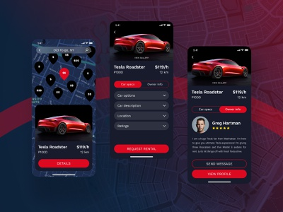 Car Rental App Design roadster tesla rental car modern black red dark theme dark app design figma clean application app user inteface user experience interaction design ux ui uiux