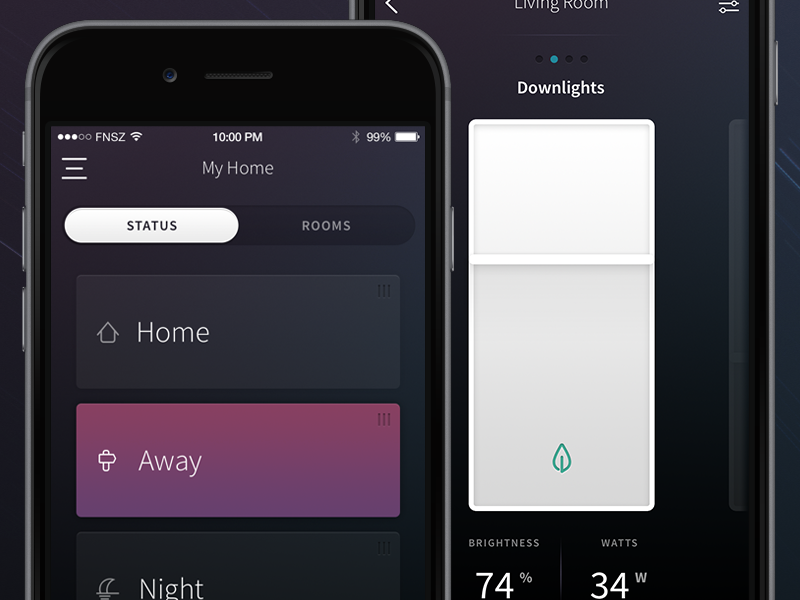 Plum: Home Automation Concept ios funsize concept iphone security home automation purple skeumorphic connected home