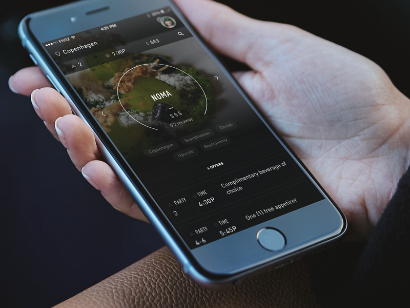 Restaurant Reservation App Concept ios dining restaurant reservations concept app funsize dark ui iphone