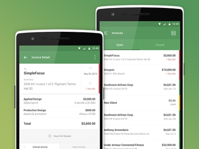 Ballpark for Android time tracking ux ui mobile finance simple green fnsz funsize invoicing android ballpark