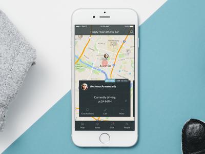 iPhone App Concept transportation social location map ios iphone funsize