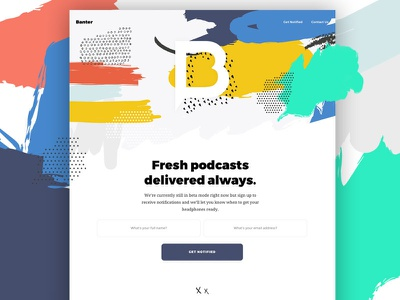 Banter Landing Page Concept colorful email capture beta landing page