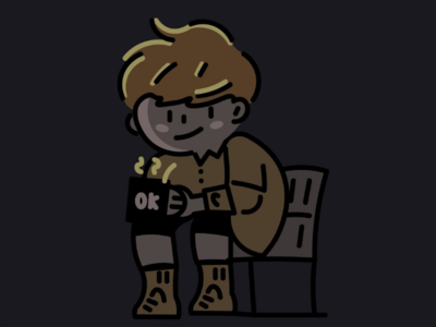 Boy sitting on a bench