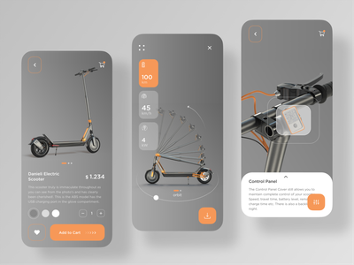 Scooter Mobile App mobile app travel adventure product card product page bicycle 360 view uiux store app sign up sign in ecommerce book rent motorsport motorbike scooter