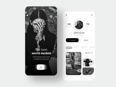 Model's Social Mobile App minimalism mobile app design mobile app black  white onboarding screen onboarding ui sign up sign in social media social app model modeling models