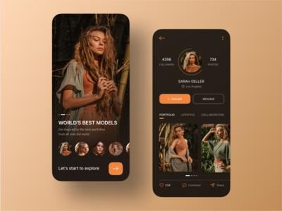 Social Mobile App mobile design lookbook sign up sign in onboarding portfolio model profile page mobile app design social app