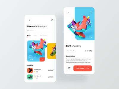 Sneakers Mobile App ios app design product page shopping store mobile app design sport app running app fitness app sneakers ecommerce app