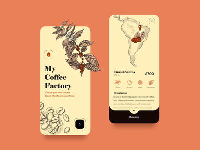 My Coffee Factory Mobile App flower illustration map cart sign up sign in onboarding draw ios app mobile app app design illustration ecommerce mobile app design coffee shop coffee