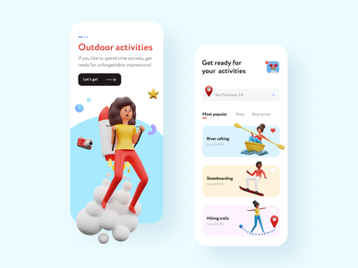 Outdoor Activities Mobile App 3d 3d illustration outside creative ios app travel trip skateboard rafting river mobile app design app design mobile app illustration 3d ilustration humanity activities outdoor