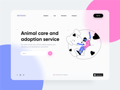 Animal Care Service service ui ux eccomerce clean pets homepage ecommerce illustration minimal web design webdesign website care animal