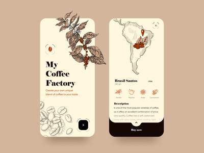 My Coffee Factory Mobile App drawing buy now product page coffe illustration mobile app design ecommerce app design mobile app