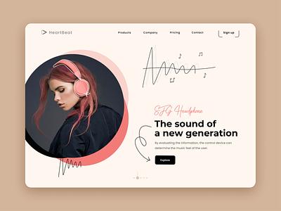 Headphone Website product page draw web design ecommerce sound music music player headphone website design webdesign