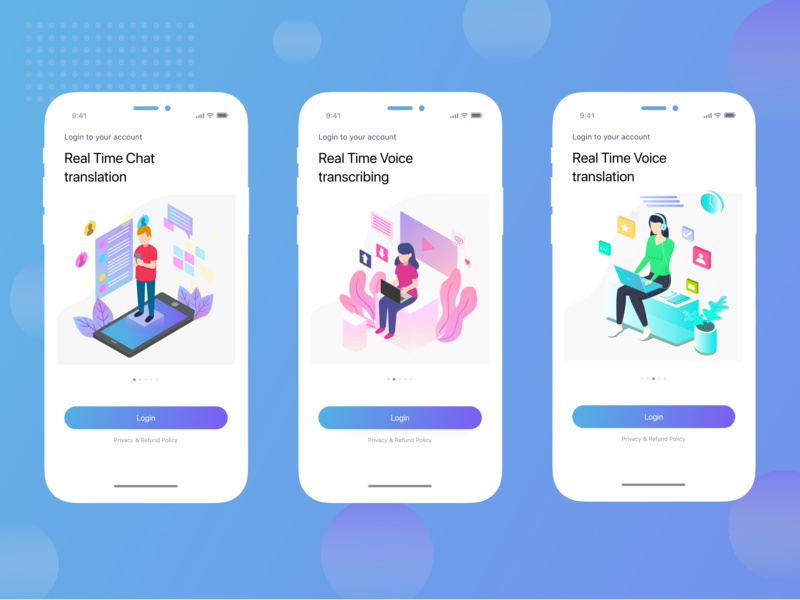 Login screens for Mobile Application by Iryna Zinych on Dribbble