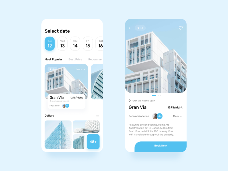 Apartment Booking ios13 app clean minimal blue fresh flat rent uiux mobile design app design adventure travel booking apartment mobile