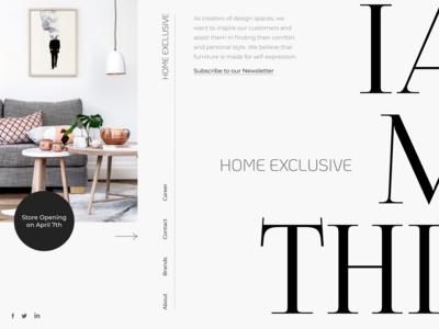 Creative Homepage for Exclusive Furniture Salon