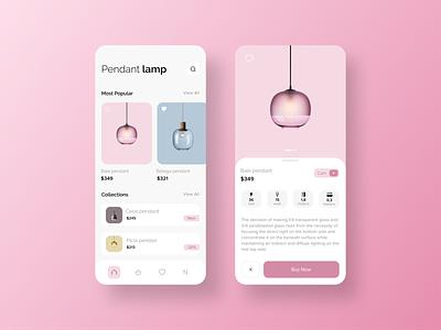 Pendant Lamp ecommerce app ecommerce ios 13 ios app pink art design pendant lamp mobile app app design app ui ux creative minimal clean