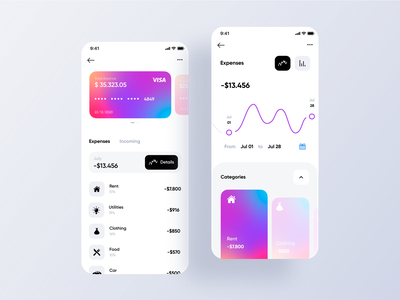 Money Tracker Mobile App android app ios app mobile ui mobile app graphs bank account bank app manager tracker money gradient credit card expenses banking